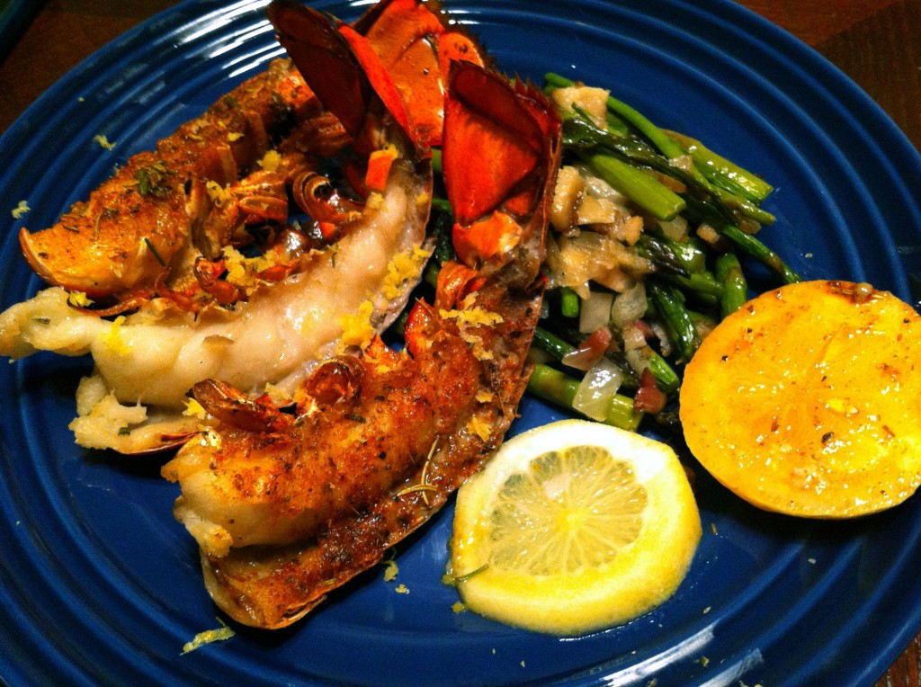 Broiled Lobster Tails in Herb Butter